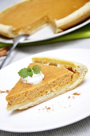 Slice of pumpkin pie with whipped cream and mint served on white plate Stock Photo - 11005410