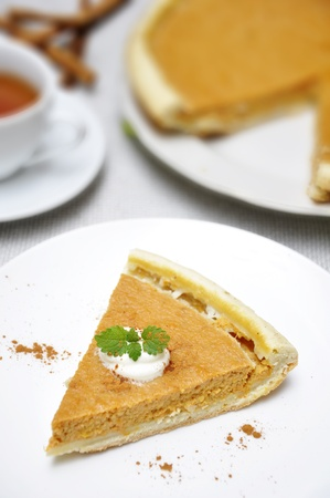 Slice of pumpkin pie with whipped cream and mint served on white plate Stock Photo - 11005408