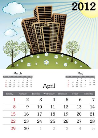 April. 2012 Calendar. Souvenir fonts used. A3 Vector