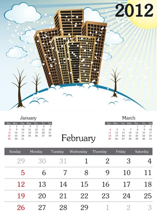 a3: February. 2012 Calendar. Souvenir fonts used. A3