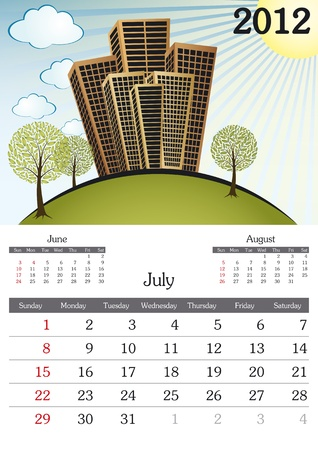 July. 2012 Calendar. Souvenir fonts used. A3 Vector