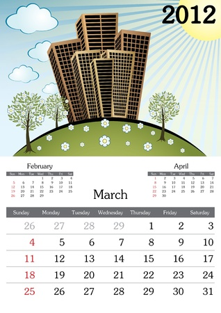 March. 2012 Calendar. Souvenir fonts used. A3 Vector