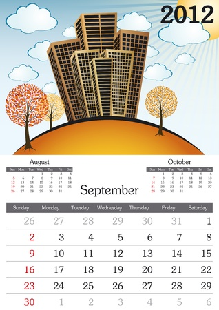 a3: September. 2012 Calendar. Souvenir fonts used. A3 Illustration