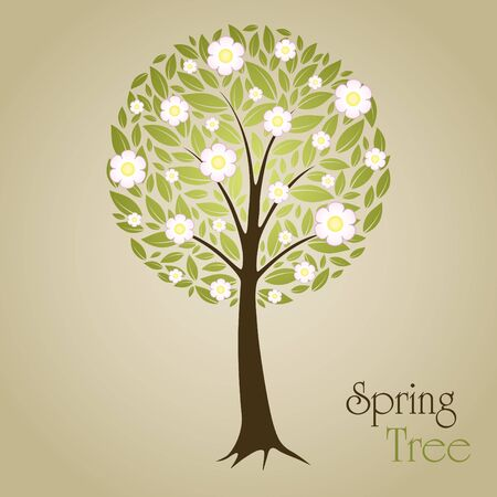 Blossom Tree vector illustration with green leafs and flowers. Nature symbol graphic design Stock Vector - 11107302