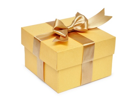 white box: Golden gift box with golden ribbon over white background