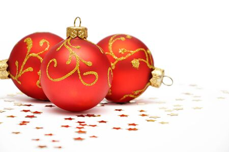 Red christmas decoration isolated on white background photo