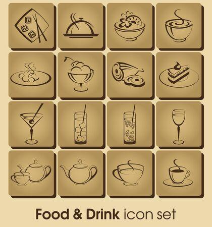Alimentos y bebidas vector conjunto de iconos. Iconos de la colección restaurante.