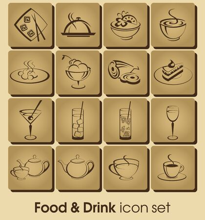 soup and salad: Food and drink vector icon set. Collection Restaurant Icons.