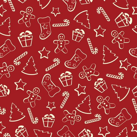 holliday: Christmas seamless pattern on a red background