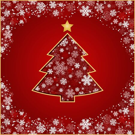 merrily: stylized Christmas tree on decorative background