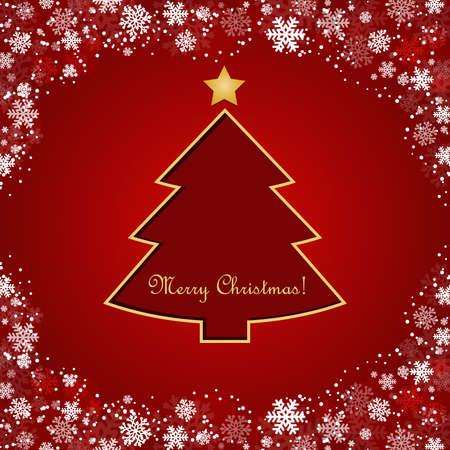 merrily: albero di Natale stilizzato su sfondo decorativo con fiocchi di neve