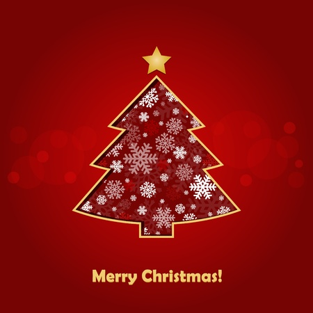 stylized Christmas tree on decorative background Vector