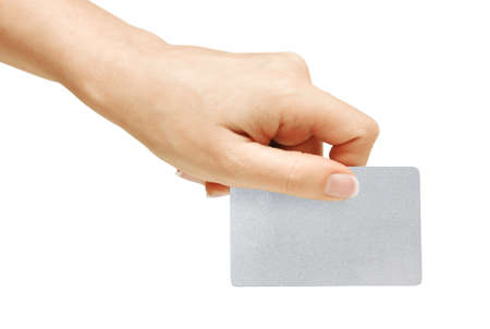 Blank card in hand, isolated on white background, with clipping path photo