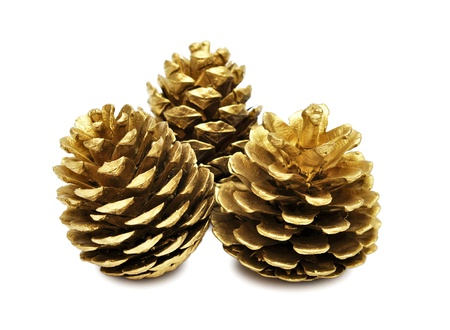 pine three: three golden pine cones isolated on the white background, with clipping path