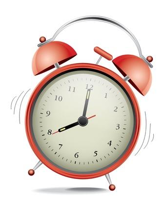 despertador: Reloj cl�sico de alarma roja sobre fondo blanco