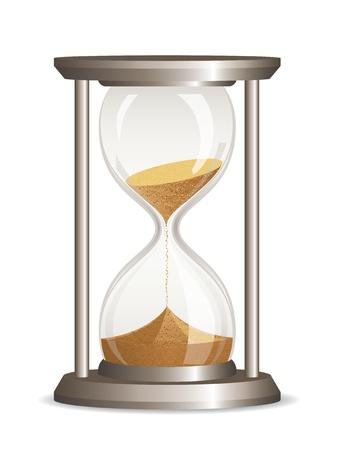 sand clock: Clessidra vettore isolato su sfondo bianco Vettoriali