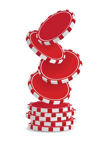 Pile of vector red  casino chips isolated on white Vector