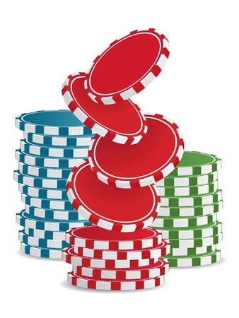 hold'em: Piles of vector colorful casino chips isolated on white