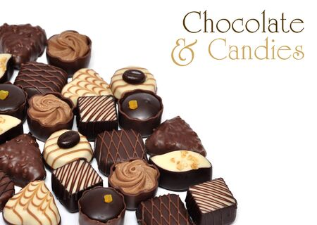 hand made chocolate candies over white background Stock Photo - 11982323