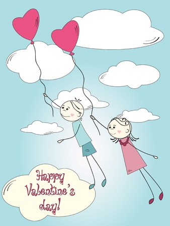 girl in love: Boy and girl flying by pink heart balloon Illustration