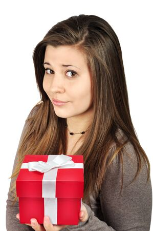 Beautiful young girl with red gift box over white background Stock Photo - 12048390