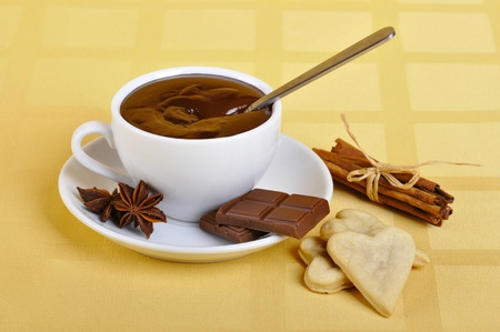 chocolaty: Cup of hot chocolate with cookies and cinnamon Stock Photo