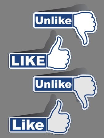 like button: vector thumb like unlike labels