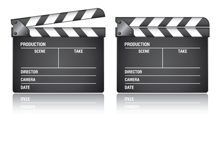 directors cut: Clapper board on white background. Illustration