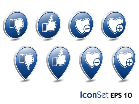 unlike: vector icon set  like and unlike buttons, eps10