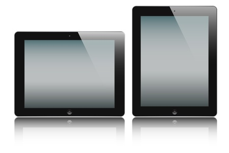 vector illustration of the turned on computer tablets with reflection isolated on a white background, eps 10 Vector