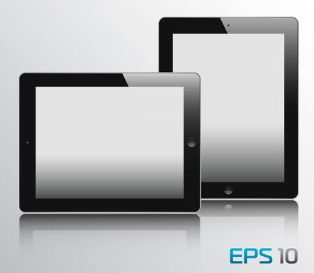 vector illustration of the turned on computer tablets with reflection, eps10 Illustration