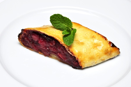 Piece of plum strudel with mint on white plate Stock Photo - 12165589