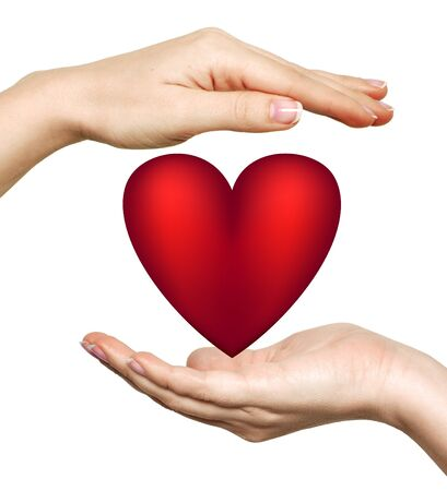 devotions: Red heart symbol in woman Stock Photo