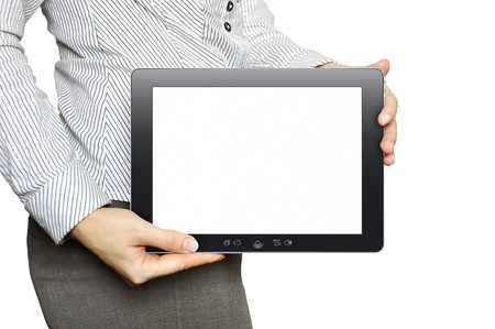 sense of space: Businesswoman with tablet computer in her hand Stock Photo