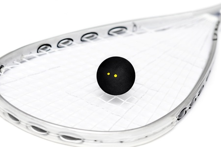 racquet: Close up of a squash racket and ball over white