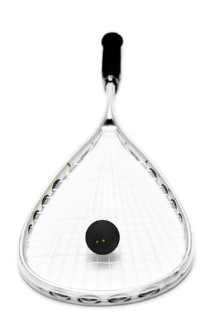 squash racket and ball over white background photo