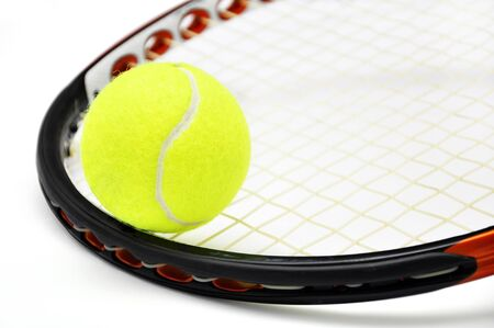 tennis racket: Tennis racket and ball closeup over white Stock Photo