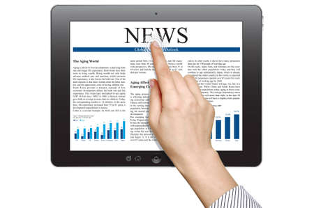 Female hands are pointing on touch screen device with business news Stock Photo - 12657476