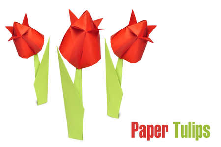 Three origami red tulips over white background photo