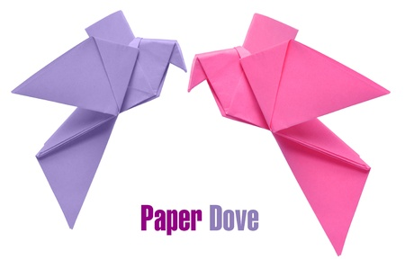 Two origami doves over white background photo
