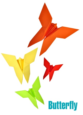 Origami Japanese paper butterflies over white background photo