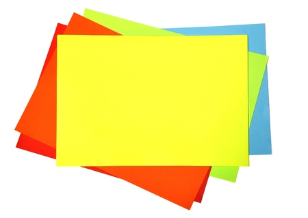 collate: Blank of colour paper over white background.