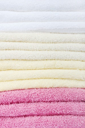 Stack of colorfull towels closeup Stock Photo - 12929898
