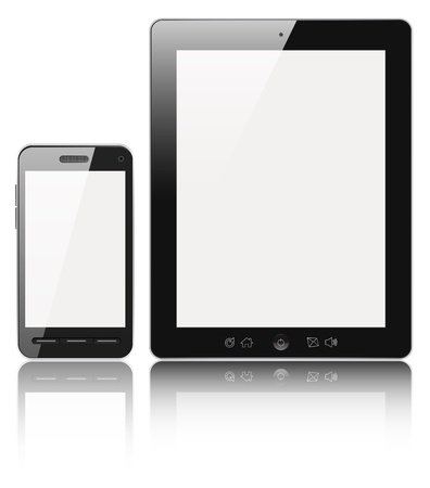 Modern digital tablet PC with mobile smartphone isolated on white with clipping path. Stock Photo - 12929899