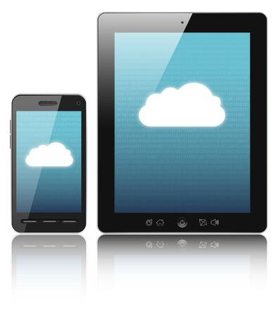 Cloud-computing connection on digital tablet pc and modern smart phone Stock Photo - 12929903