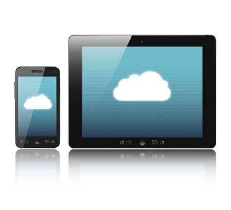 Cloud-computing connection on digital tablet pc and modern smart phone isolated on white. photo