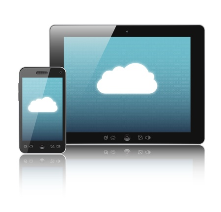 accessing: Cloud-computing connection on digital tablet pc and modern smart phone isolated on white.