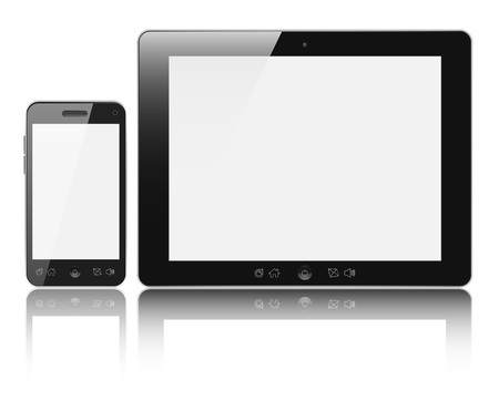 touchpad: Modern digital tablet PC with mobile smartphone isolated on white background. Clipping path included.