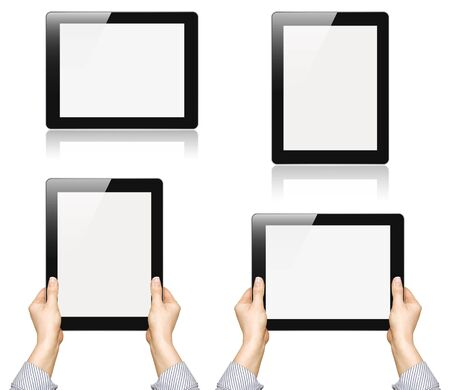 Set of digital tablet pc with businesswoman hands over white background Stock Photo - 13010225