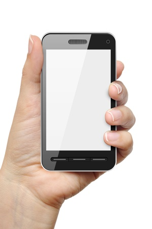 Mobile phone in female hand isolated on white background Stock Photo